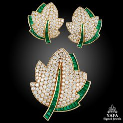 VAN CLEEF & ARPELS Diamond, Emerald Leaf Brooch Suite