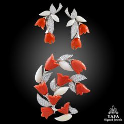 VAN CLEEF & ARPELS Diamond, Coral Brooch Suite