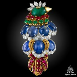 DAVID WEBB Diamond,Emerald,Ruby,Cabochon Sapphire Bird Brooch