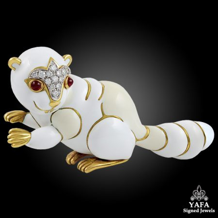 DAVID WEBB Two Tone Diamond,Ruby Squirrel Brooch
