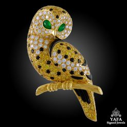 VAN CLEEF & ARPELS Diamond, Emerald Eyes,Onyx Owl Brooch