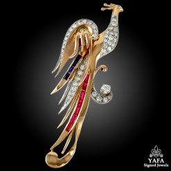 18k Rose Gold Diamond, Ruby & Sapphire Bird Brooch