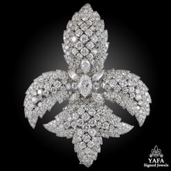 DAVID WEBB Platinum Diamond Fleur-de-Lys Pendant-Brooch