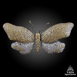 18k Gold Fancy Yellow, White Diamond Butterfly Pin