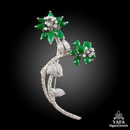 Platinum Jade, Diamond Flower Brooch