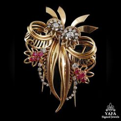 Retro Diamond, Ruby Flower Brooch