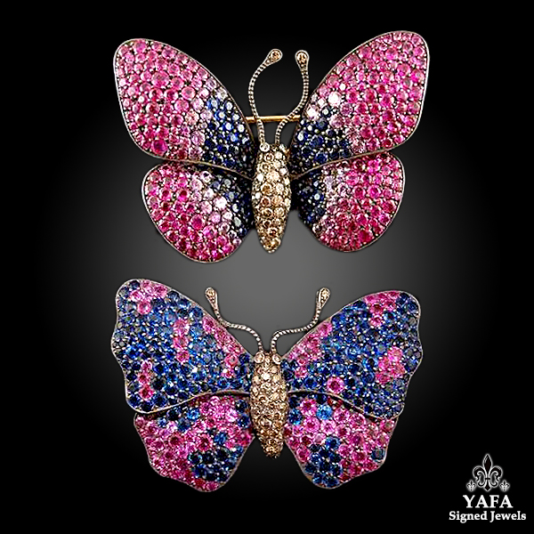18k Gold Two Butterfly Brooches