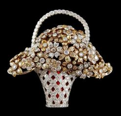 Platinum Diamond Basket Brooch