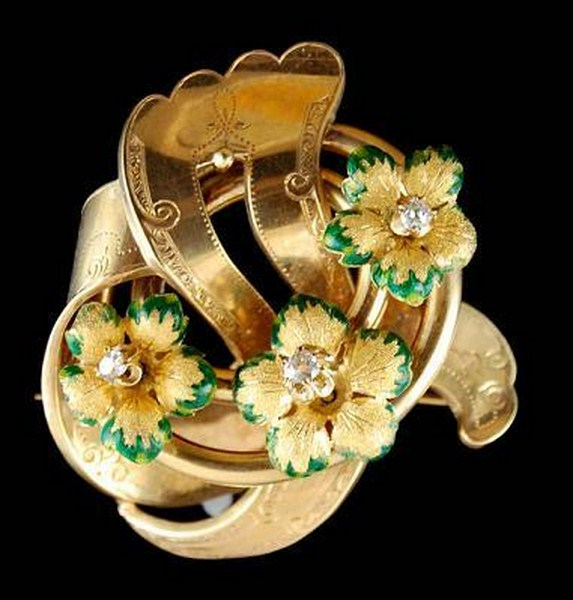 Diamond, Green Enamel Flower Swirl Brooch