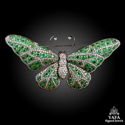 Diamond, Green Garnet Large Butterfly Brooch