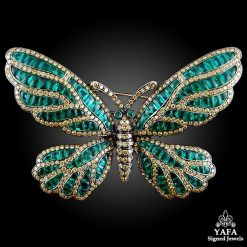 Black Gold Yellow Fancy Diamond, Emerald Butterfly Brooch