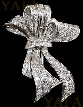 ART DECO Diamond Ribbon Brooch