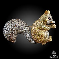 Fancy Yellow, Brown Diamond & Ruby Squirrel Brooch