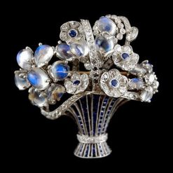 Moonstone Flower Basket Brooch