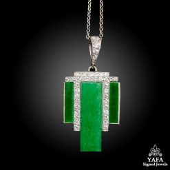 Platinum Jade, Diamond Pendant Necklace