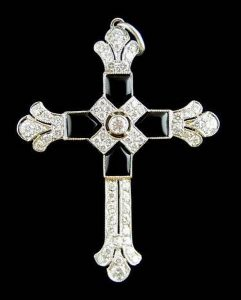 Platinum Diamond, Onyx Cross Pendant