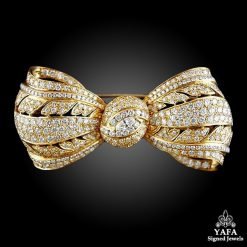 18k Yellow Gold Diamond Bow Brooch