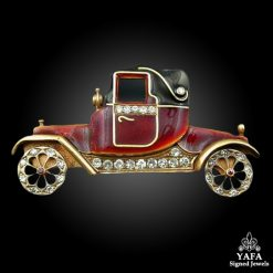Diamond Red Enamel Car Pin