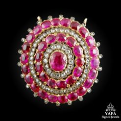 Natural Ruby & Diamond Brooch