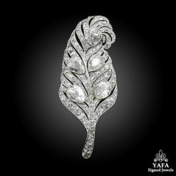 Platinum Diamond Feather Brooch