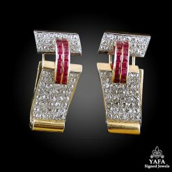 Retro 18k Gold Diamond, Ruby Brooch