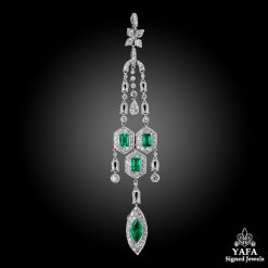 Modern Platinum Diamond,Emerald Pendant