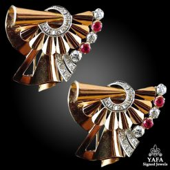 18k Gold Diamond,Ruby Double Clip Brooch