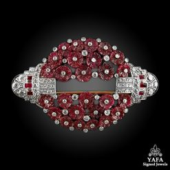 Estate Platinum Carved Ruby,Diamond Brooch