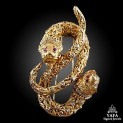 LALAOUNIS Diamond & Ruby Snake Pin