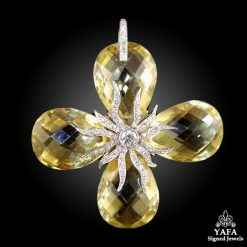 Platinum Diamond Citrine Pendant