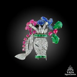 Platinum Diamond & Gem Set flower Basket Brooch