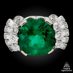 Estate Platinum Diamond,Emerald Ring