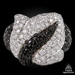 DE GRISOGONO White & Black Diamond Gold Ring