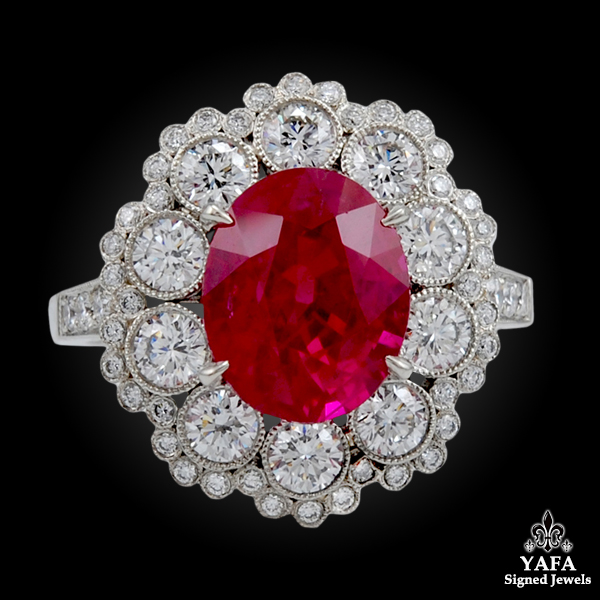 Platinum Diamond & Oval Ruby Ring