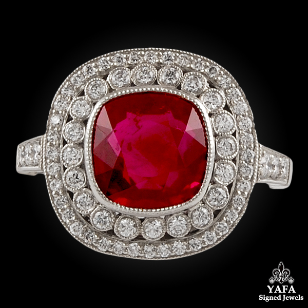 Platinum Diamond & Ruby Ring 3.0 cts.