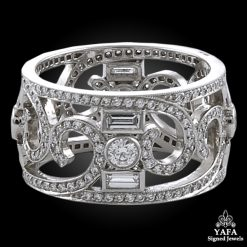 Modern Platinum Diamond Wedding Band