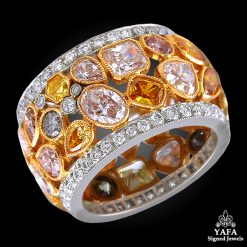 Two Tone Fancy Color Diamond Wedding Ring