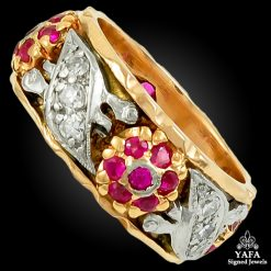 Circa 1940s 14k Gold Diamond Ruby Ring