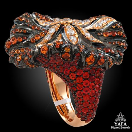 SALAVETTI Diamond,Orange Sapphire Ring-backview