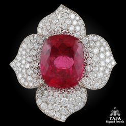 Contemporary Rubellite Diamond Flower Ring