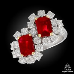 Platinum Diamond & Burma Ruby Ring
