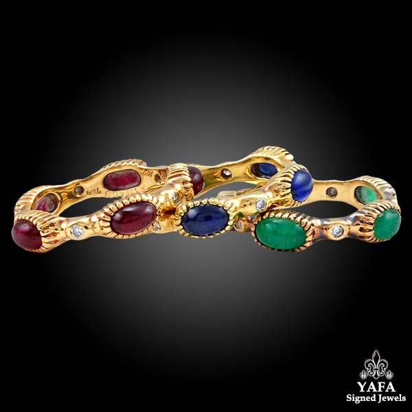 CARTIER Cabochon Ruby, Sapphire & Emerald Eternity Rings