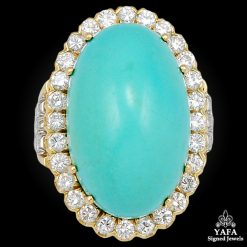 DAVID WEBB Diamond & Turquoise Ring