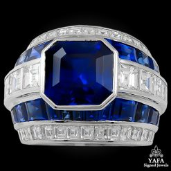 Contemporary Sapphire Diamond Ring 5.08 cts