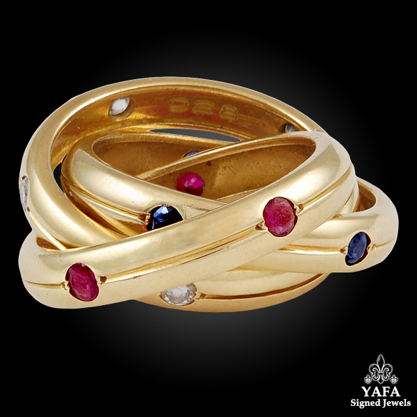 CARTIER Diamond, Ruby & Sapphire Rolling Ring
