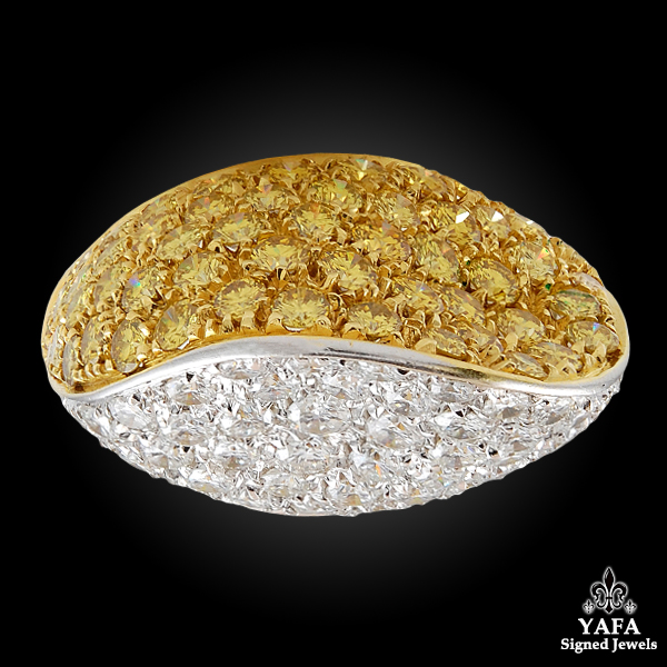 18k Gold White & Yellow Diamond Ring