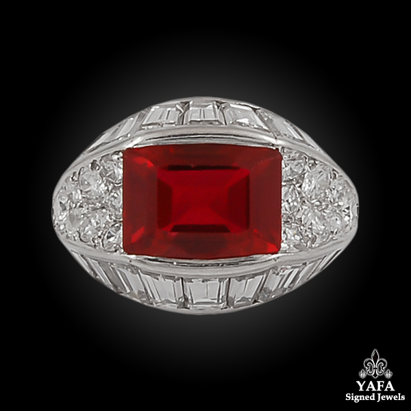 VAN CLEEF & ARPELS Diamond & Synthetic Ruby Ring