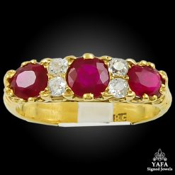 18k Yellow Gold Diamond, Ruby Ring