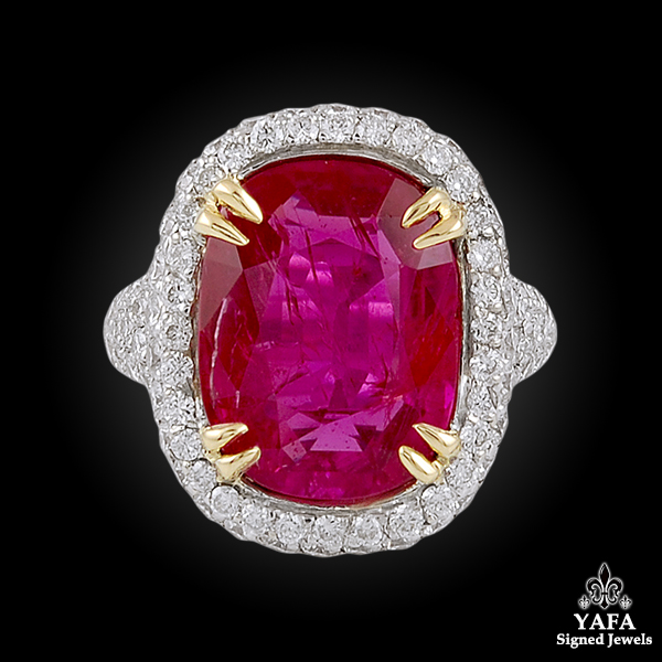 18k Gold Diamond & Natural Ruby Ring