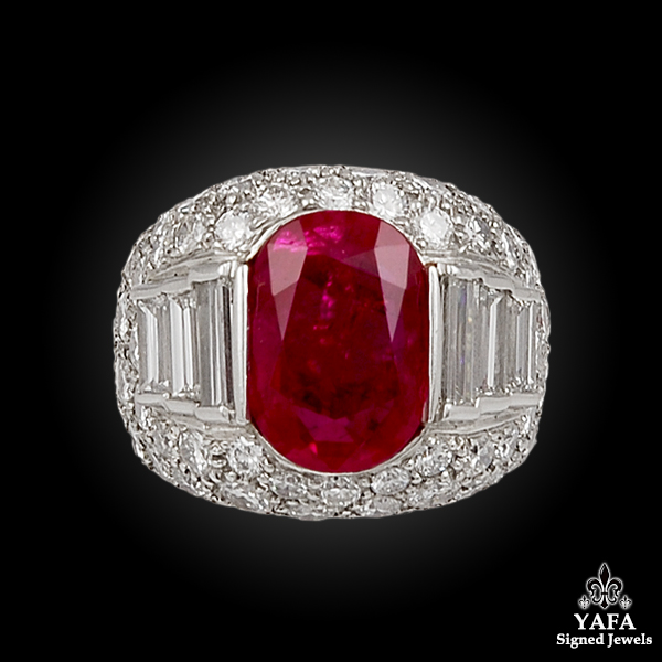 Platinum Burma Ruby, Diamond Ring